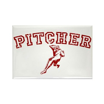 Pitcher - Red Rectangle Magnet
