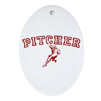 Pitcher - Red Oval Ornament