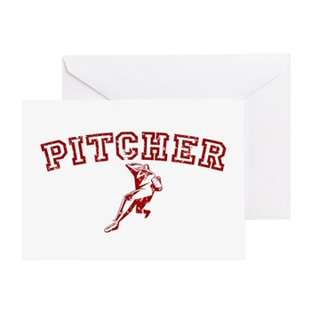 Pitcher - Red Greeting Card