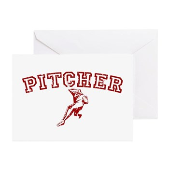 Pitcher - Red Greeting Cards (10 pack)