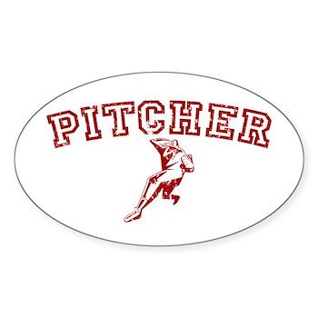 Pitcher - Red Oval Sticker (10 pk)