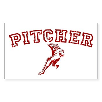 Pitcher - Red Rectangle Sticker 10 pk)