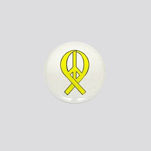 Yellow Peace Ribbon Mini Button