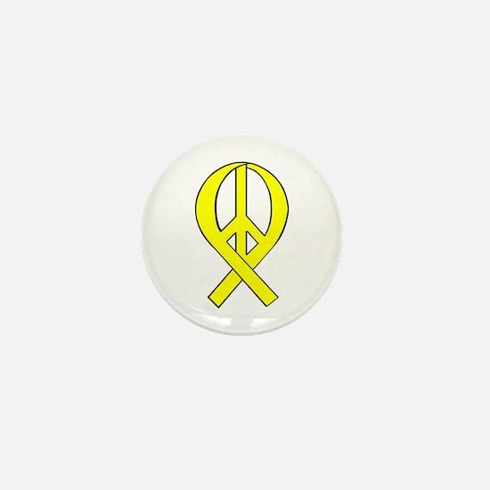 Yellow Peace Ribbon Mini Button
