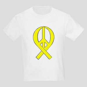 Yellow Peace Ribbon Kids T-Shirt