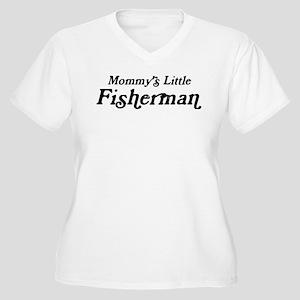 Mommys Little Fisherman Women's Plus Size V-Neck T