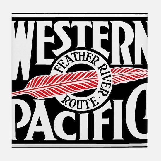 Feather River Route train logo Tile Coaster