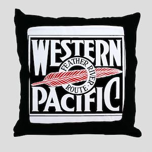 Feather River Route train logo Throw Pillow