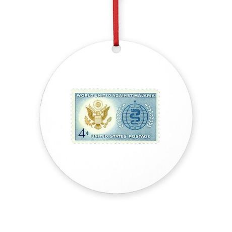 Malaria Stamp Ornament (Round)
