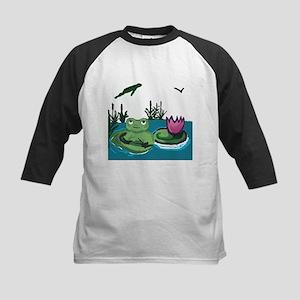 Frog on a Lilypad Kids Baseball Jersey