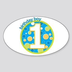 first birthday boy t-shirts Oval Sticker