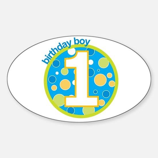 first birthday boy t-shirts Oval Decal