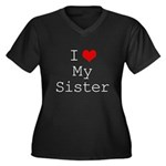 I Heart My Sister Women's Plus Size V-Neck Dark T-
