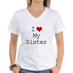 I Heart My Sister Women's V-Neck T-Shirt