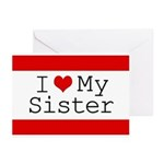 I Heart My Sister Greeting Cards (Pk of 20)