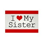 I Heart My Sister Rectangle Magnet (10 pack)