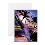 Hawaii Palm Tree Fantasy Greeting Cards (Pk of 10)