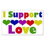 I support Love Rectangle Sticker 10 pk)
