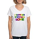 I support Love Women's V-Neck T-Shirt