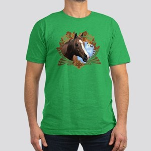 Horse Lover Crest Graphic Men's Fitted T-Shirt (da