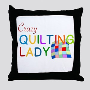 CRAZY QUILTING LADY Throw Pillow