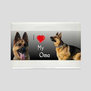 I love Oma German Shepherd Rectangle Magnet