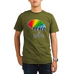 Rainbow Peace Love Organic Men's T-Shirt (dark)