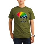 Rainbow Peace Love Organic Men's T-Shirt (dark)