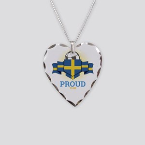 Football Swedes Sweden Soccer Necklace Heart Charm