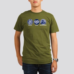 Peace Love Rollerblade Organic Men's T-Shirt (dark