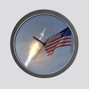 Apollo 11 Launch & Flag Wall Clock