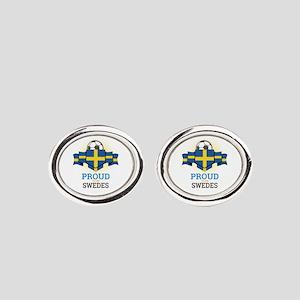 Football Swedes Sweden Soccer Team Oval Cufflinks