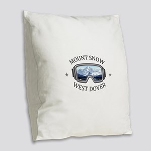 Mount Snow - West Dover - Ve Burlap Throw Pillow