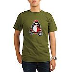Red Scooter Penguin Organic Men's T-Shirt (dark)