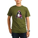 Pink Scooter Penguin Organic Men's T-Shirt (dark)