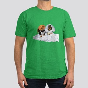 Wedding Dachshunds Dogs Men's Fitted T-Shirt (dark