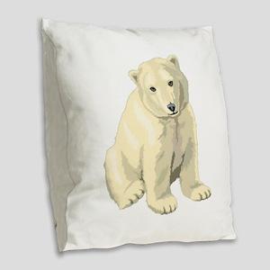 Cute White Polar Bear Burlap Throw Pillow