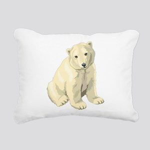 Cute White Polar Bear Rectangular Canvas Pillow