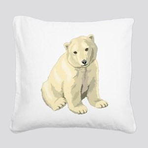 Cute White Polar Bear Square Canvas Pillow