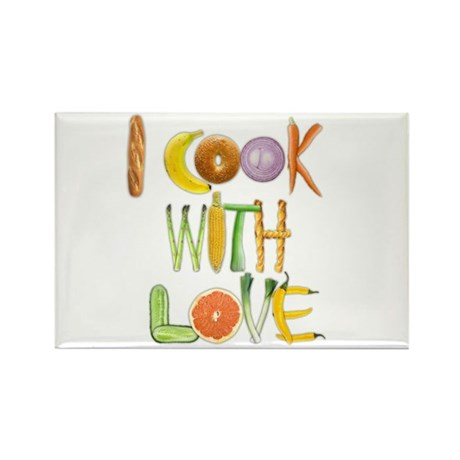 I Cook With Love Rectangle Magnet (100 pack)