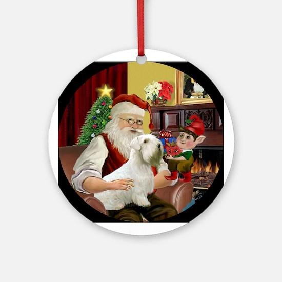 Santa's Sealyham Terrier Ornament (Round)