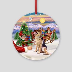 Santa's Treat for his German Shep Ornament (Round)