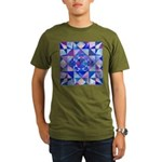 Blue Quilt Watercolor Organic Men's T-Shirt (dark)