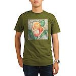 Peach Rose Watercolor Organic Men's T-Shirt (dark)