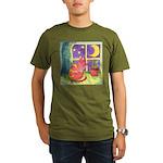 Cat and Moon Watercolor Organic Men's T-Shirt (dar