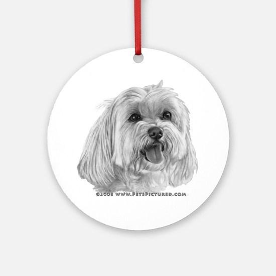 Sadie, Maltese Ornament (Round)