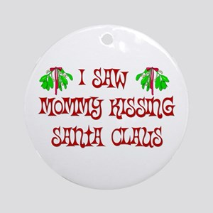 Mommy Kissing Santa Ornament (Round)