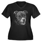 Roxy, Pit Bull Terrier Women's Plus Size V-Neck Da