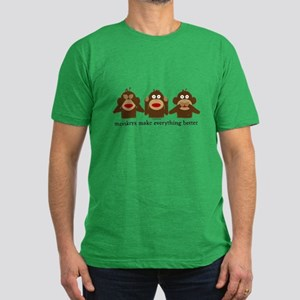 3 Wise Sock Monkeys Men's Fitted T-Shirt (dark)