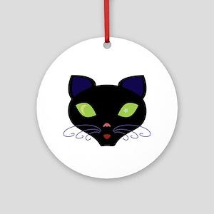 Night Cat Vector Ornament (Round)